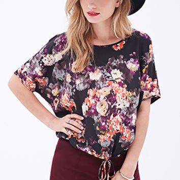 LOVE 21 Watercolor Floral Drawstring Blouse Black/Red