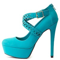 Crisscrossing Laser Cut-Out Platform Pumps by Charlotte Russe - Teal