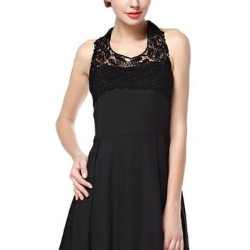 Women's Lace Shoulder Sleeveless Dress with Open Back