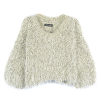 Light Gray Puff Sleeve Gold Line Sweater - Choies.com