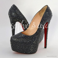 Christian Louboutin Daffodile Custom Swarovski Crystal Embellishment - Strassing Service - Sophie &amp; Ava