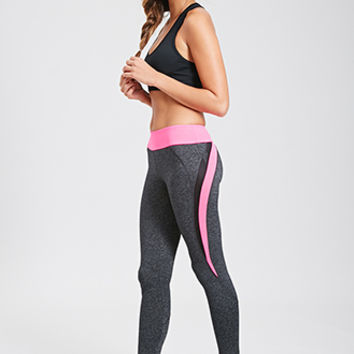 FOREVER 21 Heathered Performance Leggings Charcoal/Hot Pink