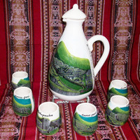 Set of 6 Peruvian Pisco Cups and a Liquor Jug.