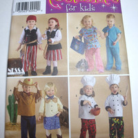 New Simplicity Pattern Halloween Costume infant toddler pirate chef doctor cowboy cowgirl sizes 1/2 1 2 3 4