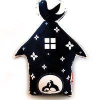 Black Print Birdhouse Plush Pillow