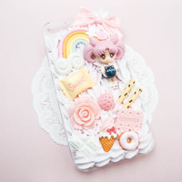 MADE TO ORDER Sailor Chibi Moon Rini Chibiusa Sweets Pink Whip Cream Handmade Custom iPhone Samsung Decoden Case
