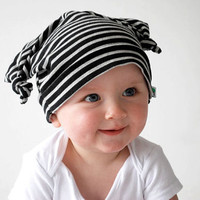 Cute baby hat black grey striped double knot beanie cap dangling ears floppy hood funky pattern toddler fashion accessory pirate head scarf