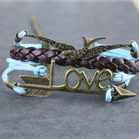 Bronze karma black leather bracelets bracelets bracelets infinite hope