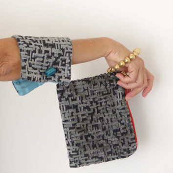 Gray geometric wristlet purse, unique evening clutch, upholstery soft italian velet fabric / For Her / Fall / Autumn /  handmade accessories