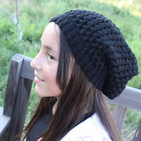Crochet Slouchy Beanie- Black