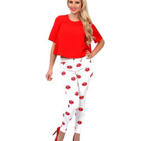 White & Red Read My Lips High Waist Skinny Jeans