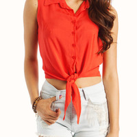 tie-waist-button-up-top BLACK BLUE IVORY MUSTARD ROYAL RUST - GoJane.com