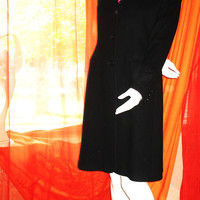 Amaizing Vintage CHARLES GRAY My Boyfriend's Coat Black  Wool/Cashmere Lined Size L Made in ENGLAND