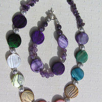 "Necklace & Bracelet Set - Mother of Pearl and Amethyst Gemstone  - ""Rainbow Fantasia"""