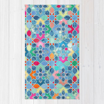 Pretty Pastel Moroccan Tile Mosaic Pattern Area & Throw Rug by micklyn