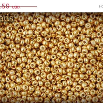ON SALE 10% off Gold Seed Beads, Permanent Finish, Size 11 TOHO, Tr-11-PF557 Opaque 11/0