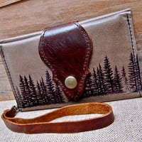 Leather Wallet, Phone Case with Wrist Strap & Zipper Pocket Olive Taupe, Pine Tree Print - SALE - see Shop for Coupon Codes...