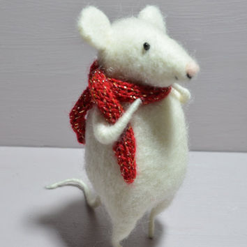 Little Mouse with Red Scarft - needle felted ornament animal, felting dreams by johana molina