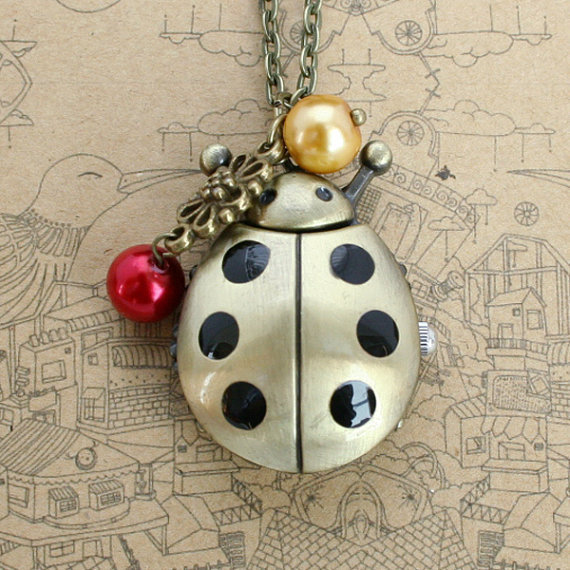 Vintage pocket watch necklace with antique bronze ladybug pendant and glass crystal charm