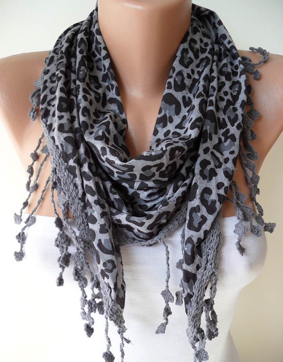 ON SALE - Leopard - Grey Scarf - with Grey Trim Edge