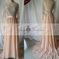 Long Sleeve Evening Gown/Backless Gown With Sleeves/Open Back Dress Evening/Coral Long Sleeve Backless Dress/Evening Dress/Prom Dress 2014