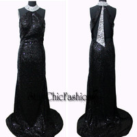 Sparkly Black Long Sequined Evening Gown With Silver Beaded High Neck