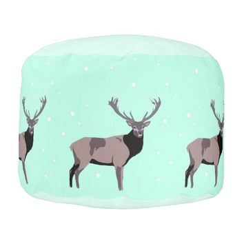 Snow Deer - Winter Round Pouf