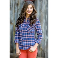 Stay True To Yourself Plaid Blouse-Navy