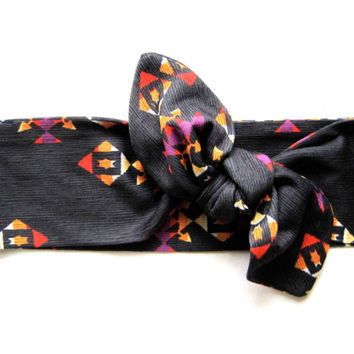 Aztec Dolly Bow Headband Hair Accessory Tribal Head Wrap Hairwrap Navy Blue Orange Purple Women Hair Accessory Teen Gift Ready To Ship