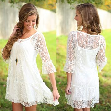 Free As Can Be Dress in Ivory