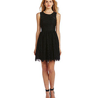 Jessica Simpson Faux-Leather & Lace Cutout Fit-and-Flare Dress - Black