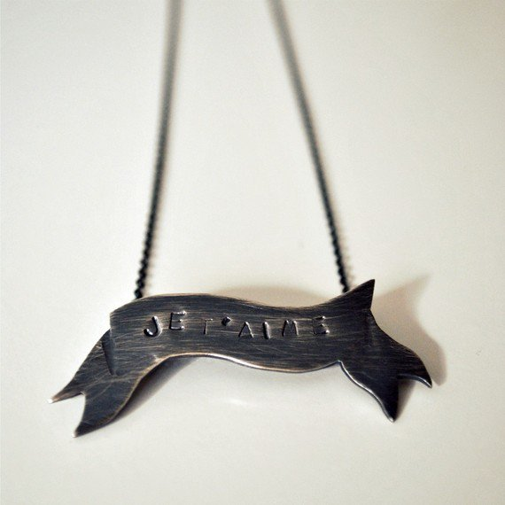 Je t&#x27;aime Banner Necklace Sterling Silver  Made by TheAngryWeather