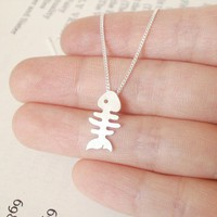 sterling silver fish bone necklace handmade in the UK by huiyitan
