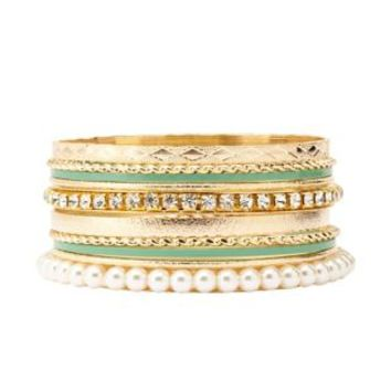 Coated, Rhinestone & Pearl Bangles - 10 Pack - Mint