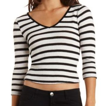 Sweater Knit Striped Top by Charlotte Russe - Black Combo