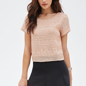 FOREVER 21 Boxy Beaded & Sequined Top Blush/Blush