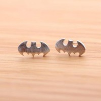 TINY BATMAN stud earrings in silver by bythecoco on Zibbet