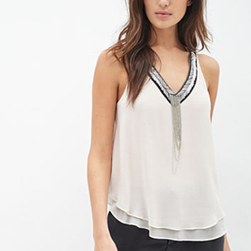 LOVE 21 Bead & Chain Embellished Top Beige/Silver