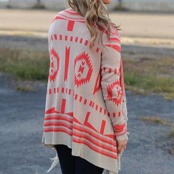 Mountain High Cardigan {Orange + Taupe}
