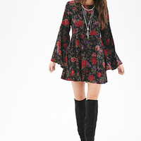 FOREVER 21 Floral Print Skater Dress Black/Wine