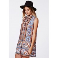 Missguided - Mabel Sleeveless Shirt Dress Persian Print