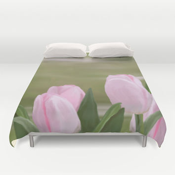 Pink Tulips Duvet Cover by Ramon Martinez Jr