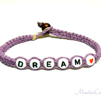 Dream Bracelet, Lavender Purple Macrame Hemp Jewelry, Gifts for Her