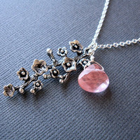 Sale Silver Cherry Blossom Necklace, Strawberry Quartz Silver Flower Necklace