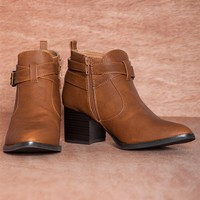Roam the Wilderness TONI-17 Two Strap Western Ankle Booties - Cognac