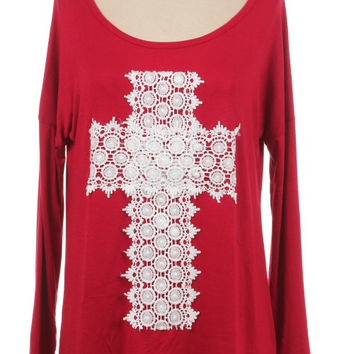 Solid Red Top with Crochet Cross Plus (1X-3X)