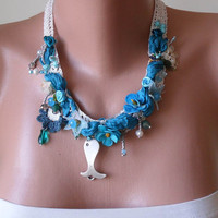 Blue Necklace - Handmade Design - summer colors...
