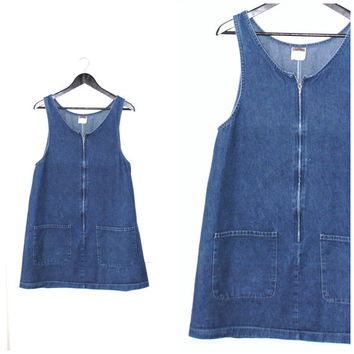 early 90s GRUNGE denim dress / vintage 1990s MINIMALIST hipster JEAN overall romper dress