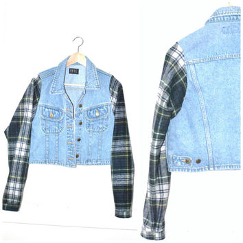 90s GRUNGE light wash DENIM jacket / upcycled plaid sleeves CROPPED pale jean jacket small medium large