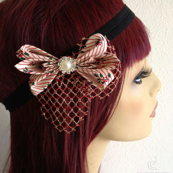 Red and black christmas headband - gatsby 1920's inspired elastic headband - hair bow - red and gold hair accessories - bow headband
